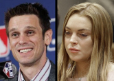 Angels General Manager Jerry Dipoto (left) and Lindsay Lohan (right)