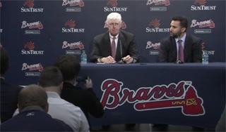 Braves Chairman Terry McGuirk introduced new Braves GM Alex Anthopoulos at Sun Trust Park on Monday