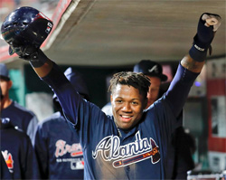 Braves rookie Ronald Acuña Jr had 4 hits through his first 2 Major League games for the Braves.