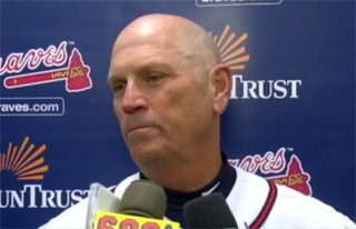 Braves Manager Brian Snitker briefs reporters after Thursday's 12-4 win over the Mets.